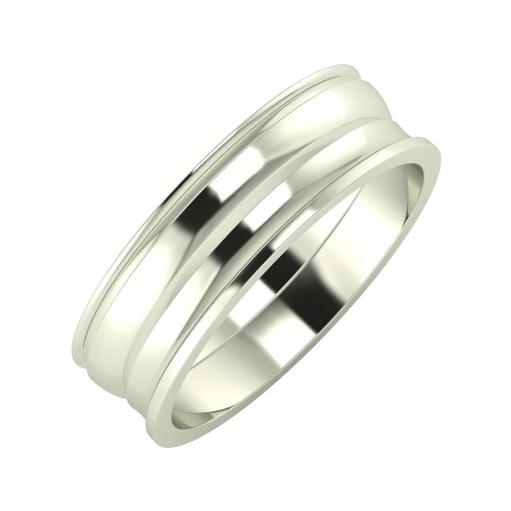 Agrippína - Ágosta - Ainó 6mm 18 karátos fehér arany karikagyűrű