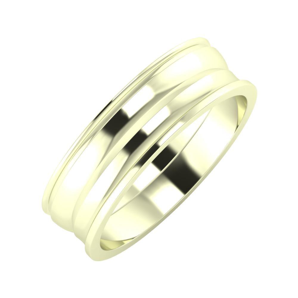 Agrippína - Ágosta - Ainó 6mm 22 karátos fehér arany karikagyűrű