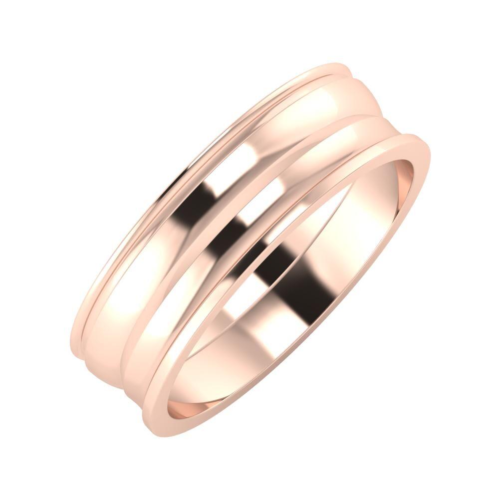 Agrippína - Ágosta - Ainó 6mm 14 karátos rosé arany karikagyűrű