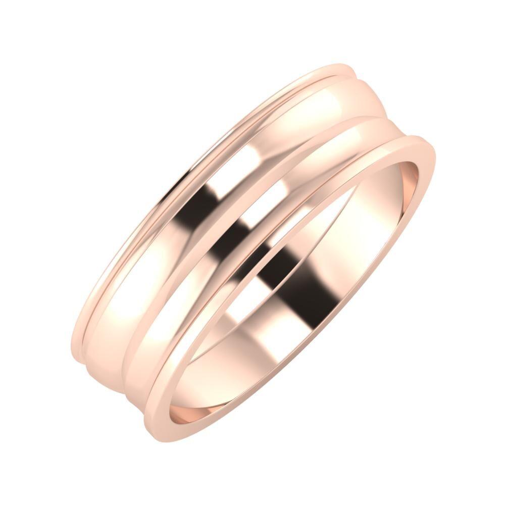 Agrippína - Ágosta - Ainó 6mm 18 karátos rosé arany karikagyűrű