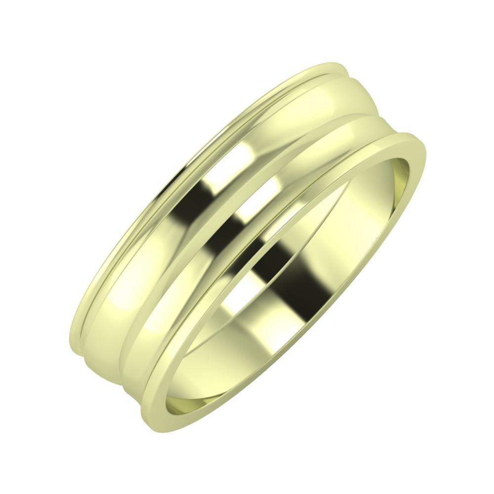 Agrippína - Ágosta - Ainó 6mm 14 karátos zöld arany karikagyűrű