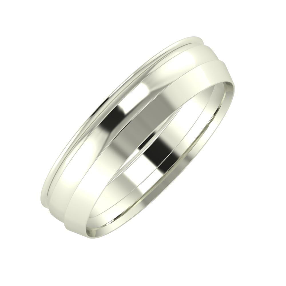 Agrippína - Ágosta - Aisah 5mm 14 karátos fehér arany karikagyűrű