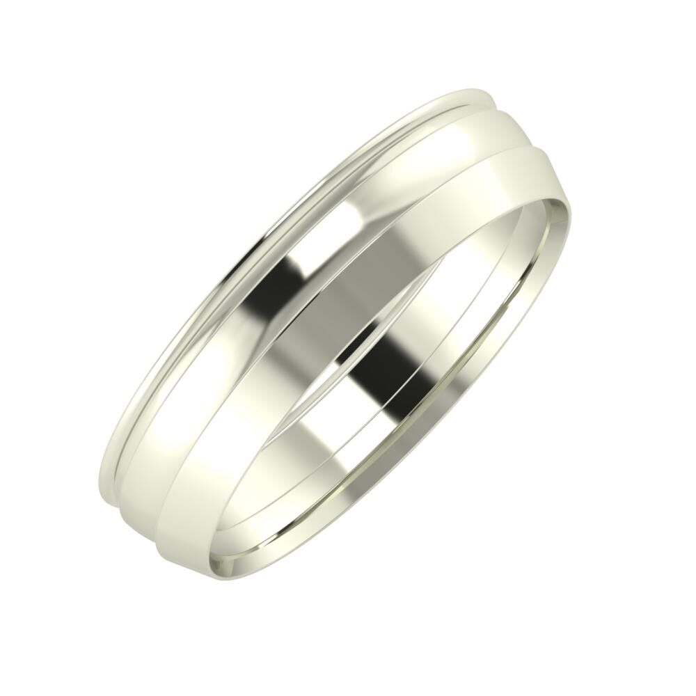 Agrippína - Ágosta - Aisah 5mm 18 karátos fehér arany karikagyűrű