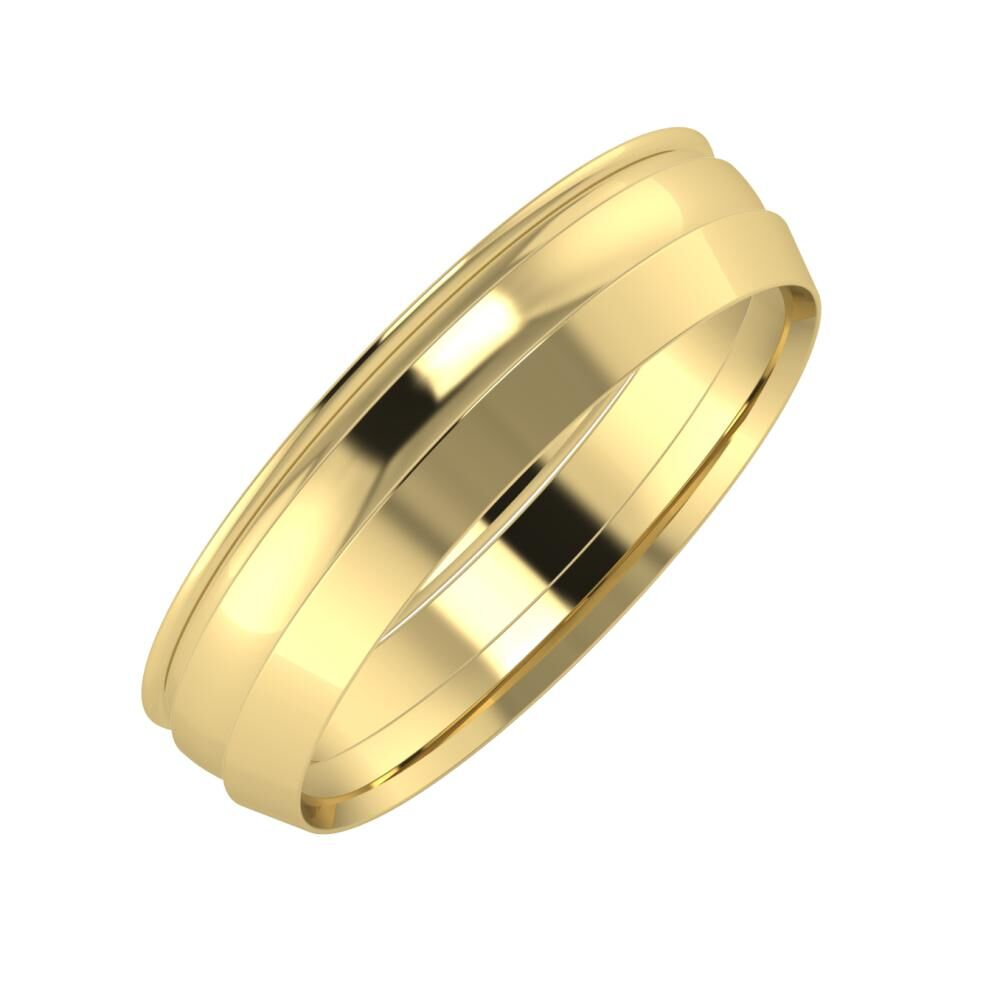 Agrippína - Ágosta - Aisah 5mm 14 karátos sárga arany karikagyűrű