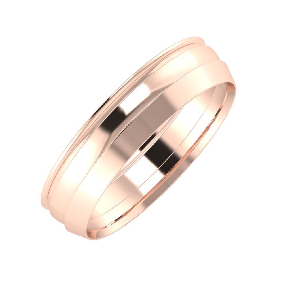 Agrippína - Ágosta - Aisah 5mm 14 karátos rosé arany karikagyűrű