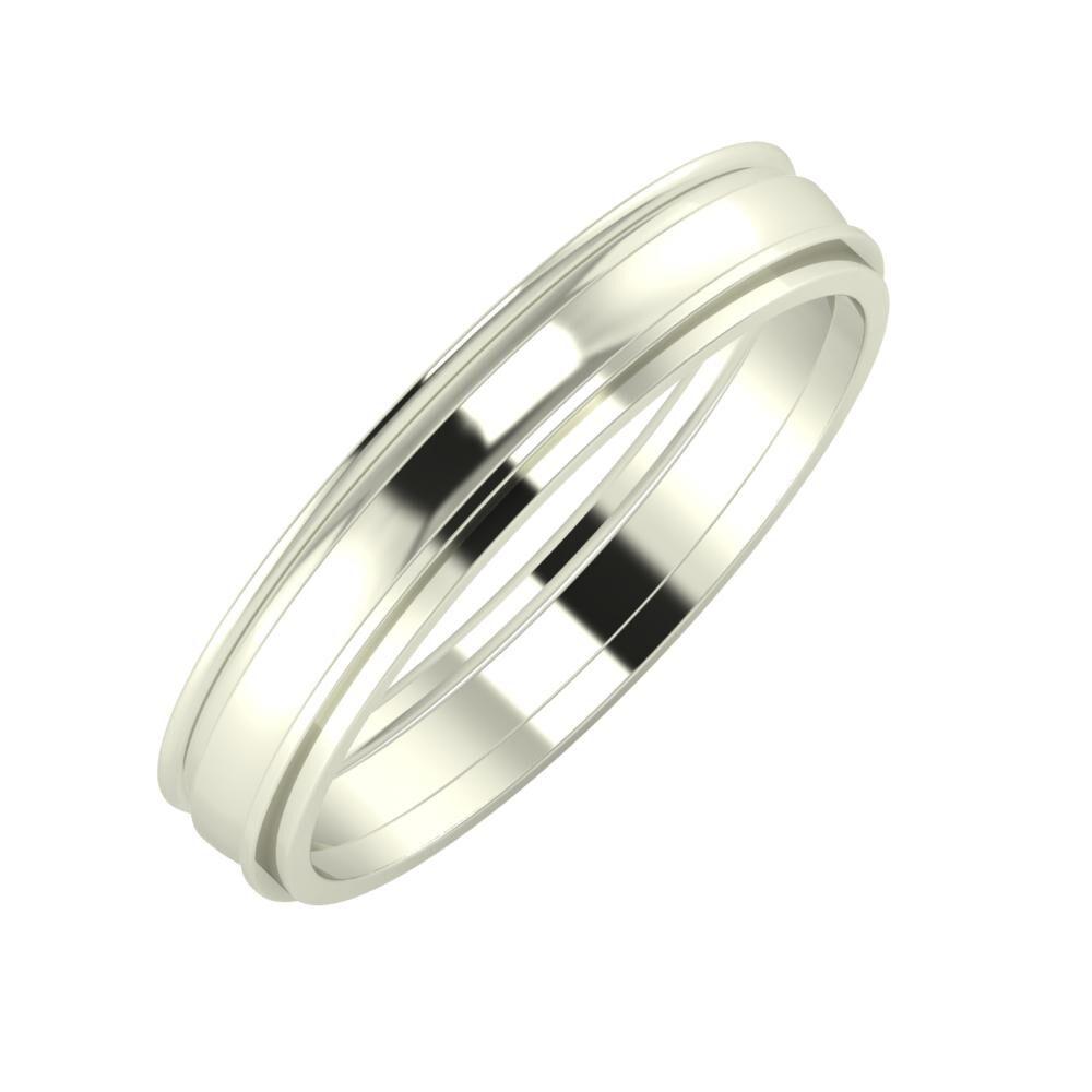 Agrippína - Ágosta - Ájlin 4mm 18 karátos fehér arany karikagyűrű