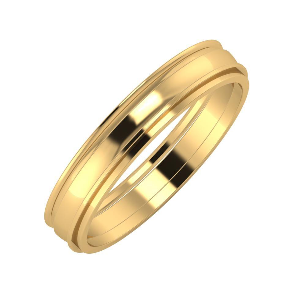 Agrippína - Ágosta - Ájlin 4mm 18 karátos sárga arany karikagyűrű