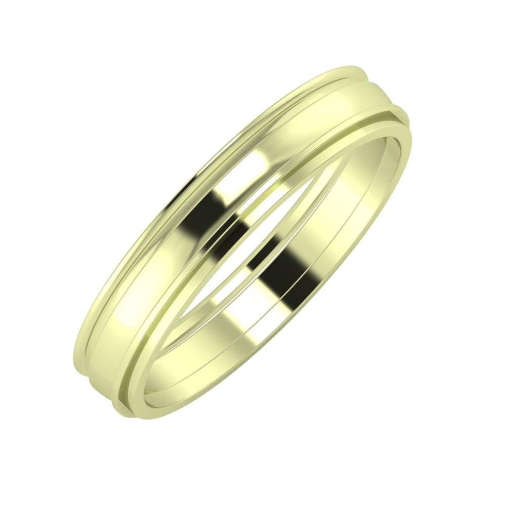 Agrippína - Ágosta - Ájlin 4mm 14 karátos zöld arany karikagyűrű
