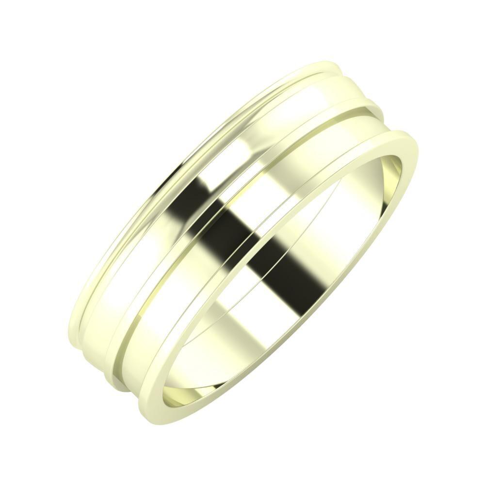 Agrippína - Ágosta - Ajnácska 6mm 22 karátos fehér arany karikagyűrű