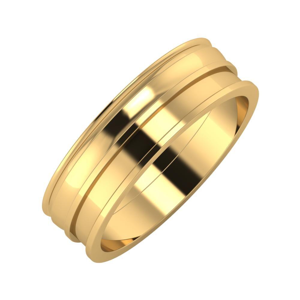 Agrippína - Ágosta - Ajnácska 6mm 22 karátos sárga arany karikagyűrű