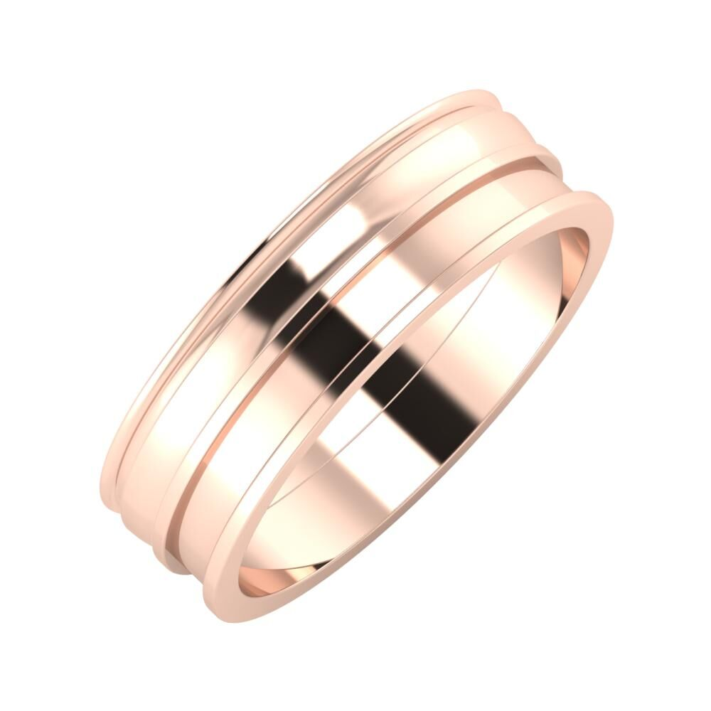 Agrippína - Ágosta - Ajnácska 6mm 18 karátos rosé arany karikagyűrű
