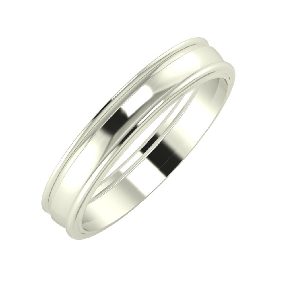 Agrippína - Ágosta - Ajra 4mm 14 karátos fehér arany karikagyűrű