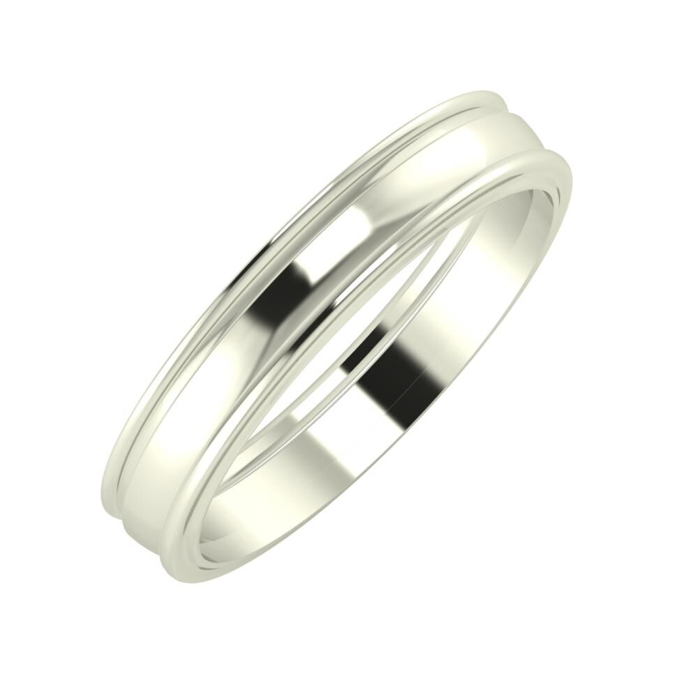 Agrippína - Ágosta - Ajra 4mm 18 karátos fehér arany karikagyűrű