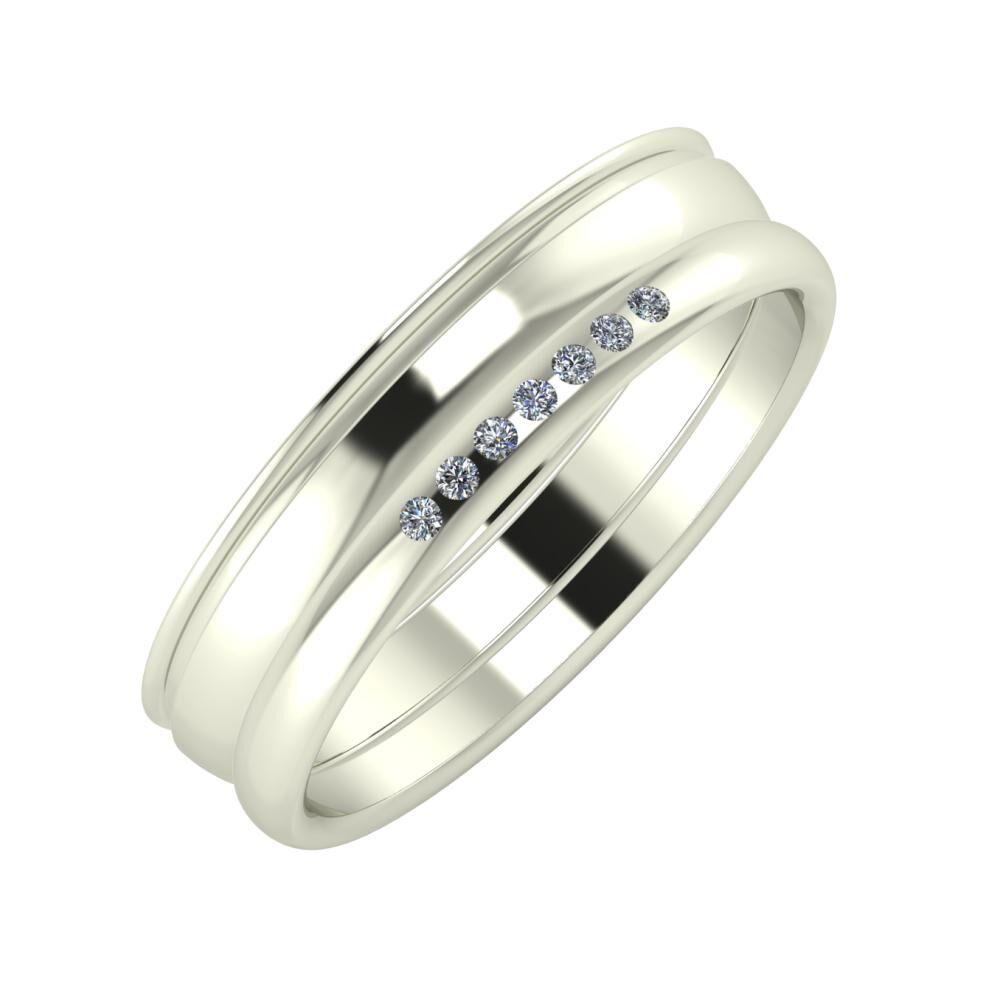 Agrippína - Ágosta - Albertina 5mm 14 karátos fehér arany karikagyűrű