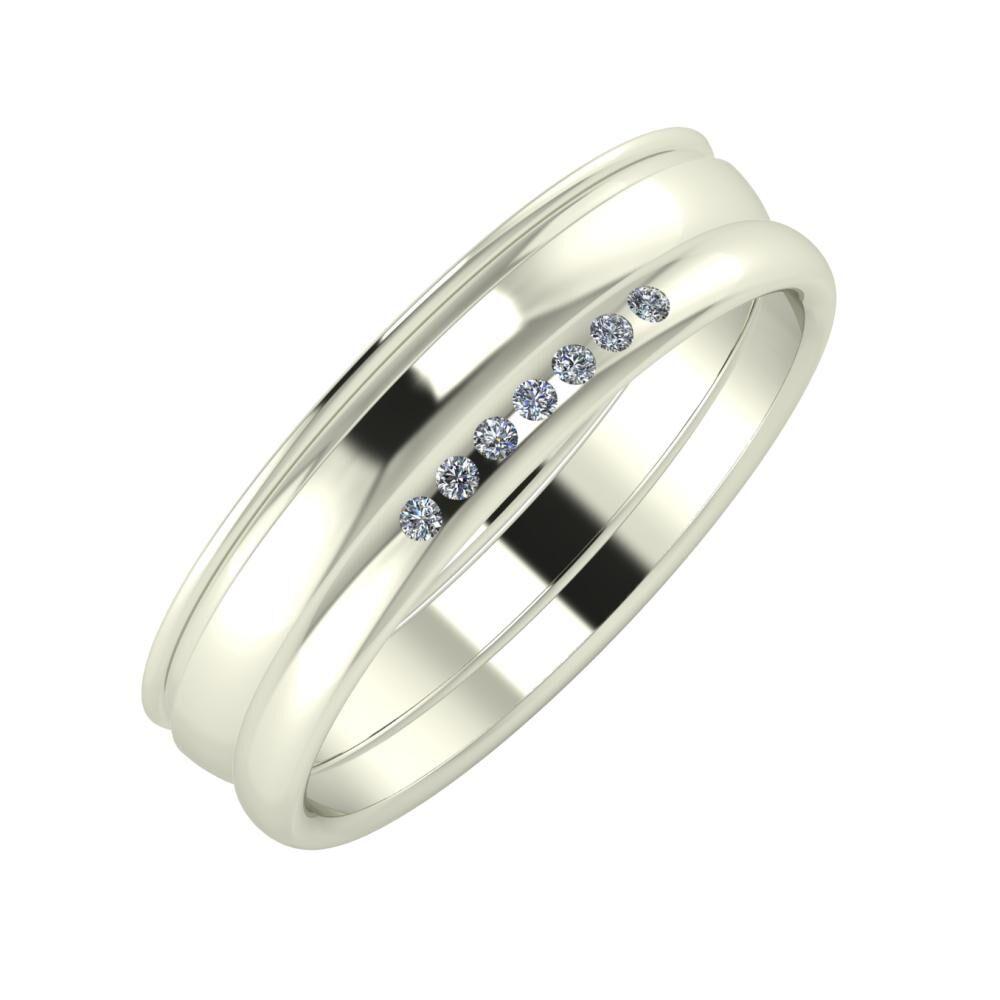 Agrippína - Ágosta - Albertina 5mm 18 karátos fehér arany karikagyűrű