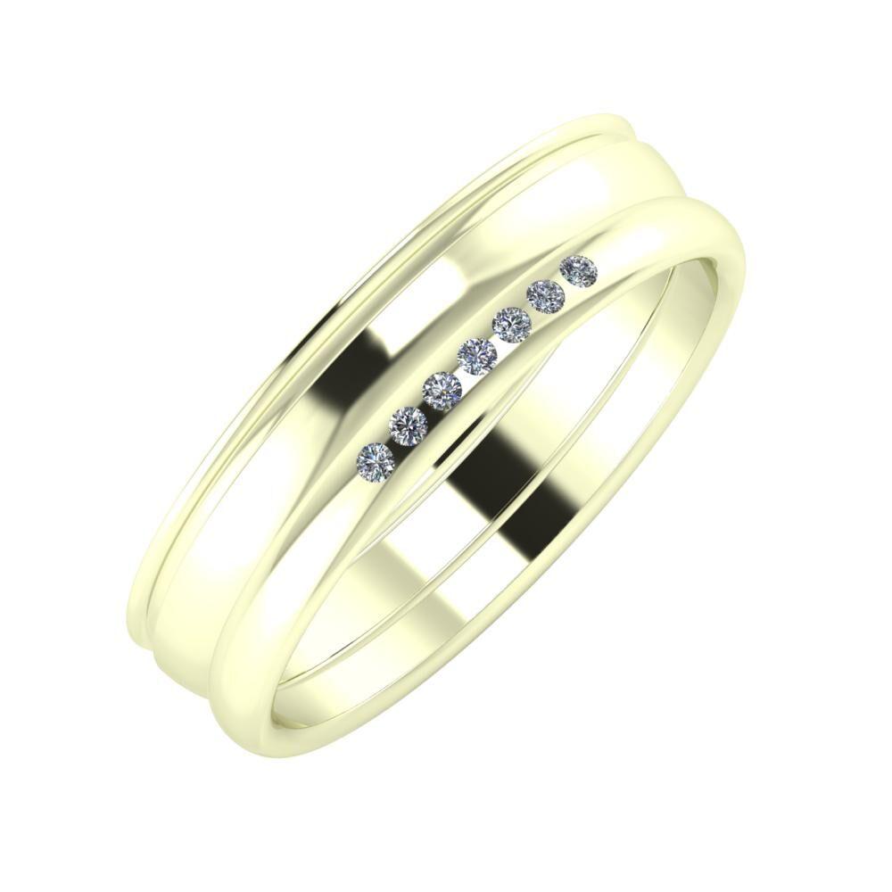Agrippína - Ágosta - Albertina 5mm 22 karátos fehér arany karikagyűrű