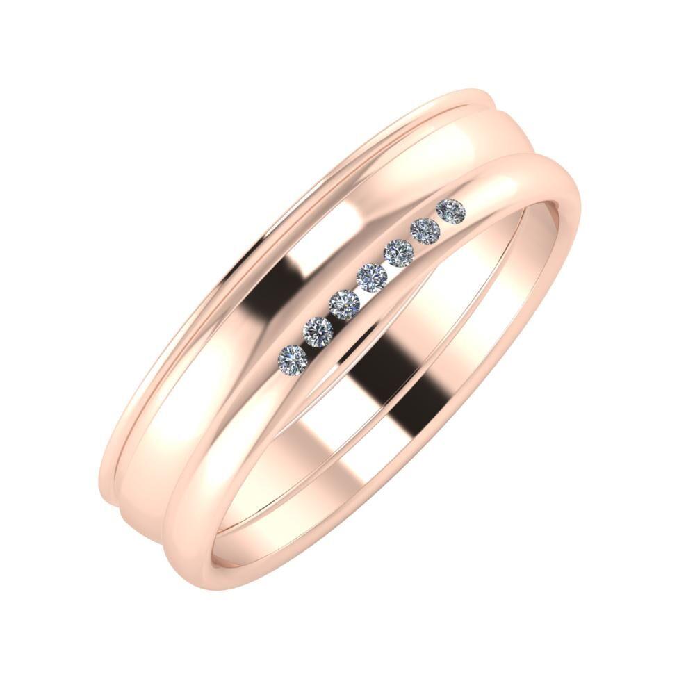 Agrippína - Ágosta - Albertina 5mm 14 karátos rosé arany karikagyűrű