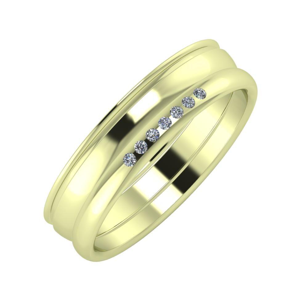 Agrippína - Ágosta - Albertina 5mm 14 karátos zöld arany karikagyűrű