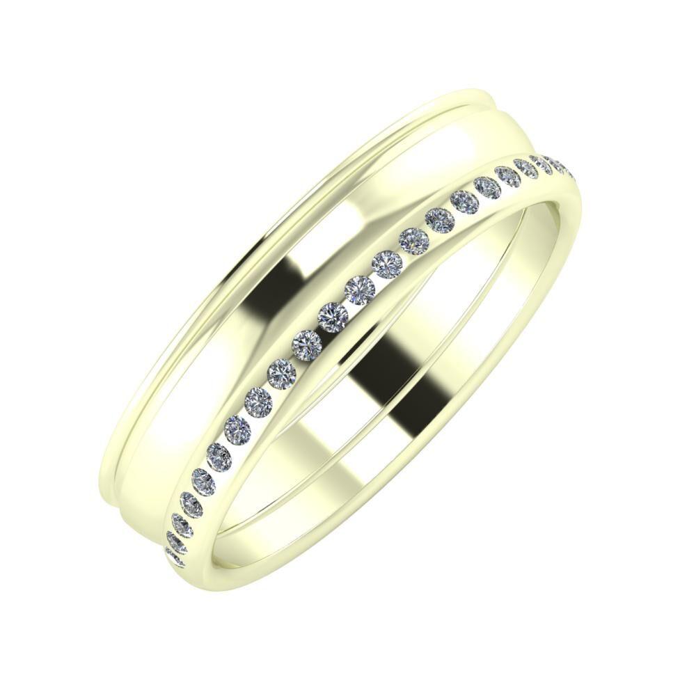 Agrippína - Ágosta - Aldea 5mm 22 karátos fehér arany karikagyűrű