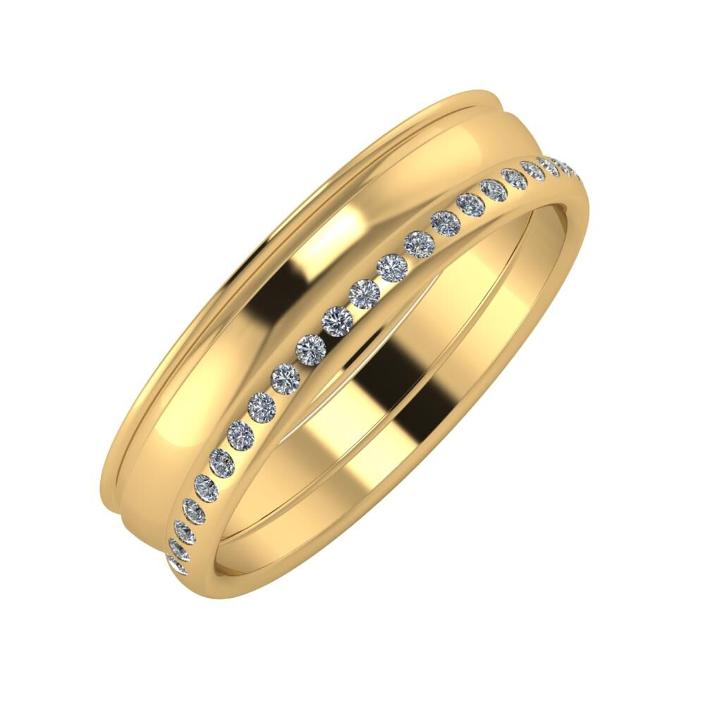 Agrippína - Ágosta - Aldea 5mm 22 karátos sárga arany karikagyűrű
