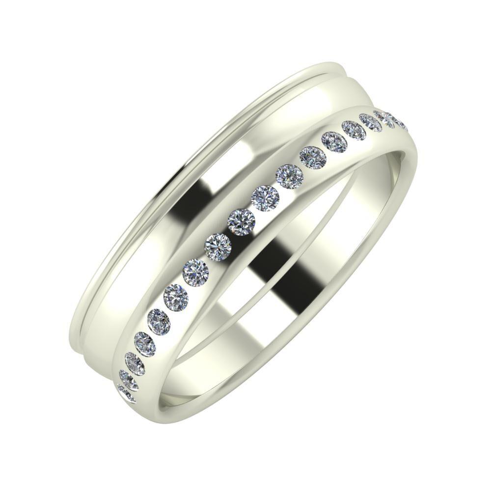 Agrippína - Ágosta - Aldea 6mm 14 karátos fehér arany karikagyűrű