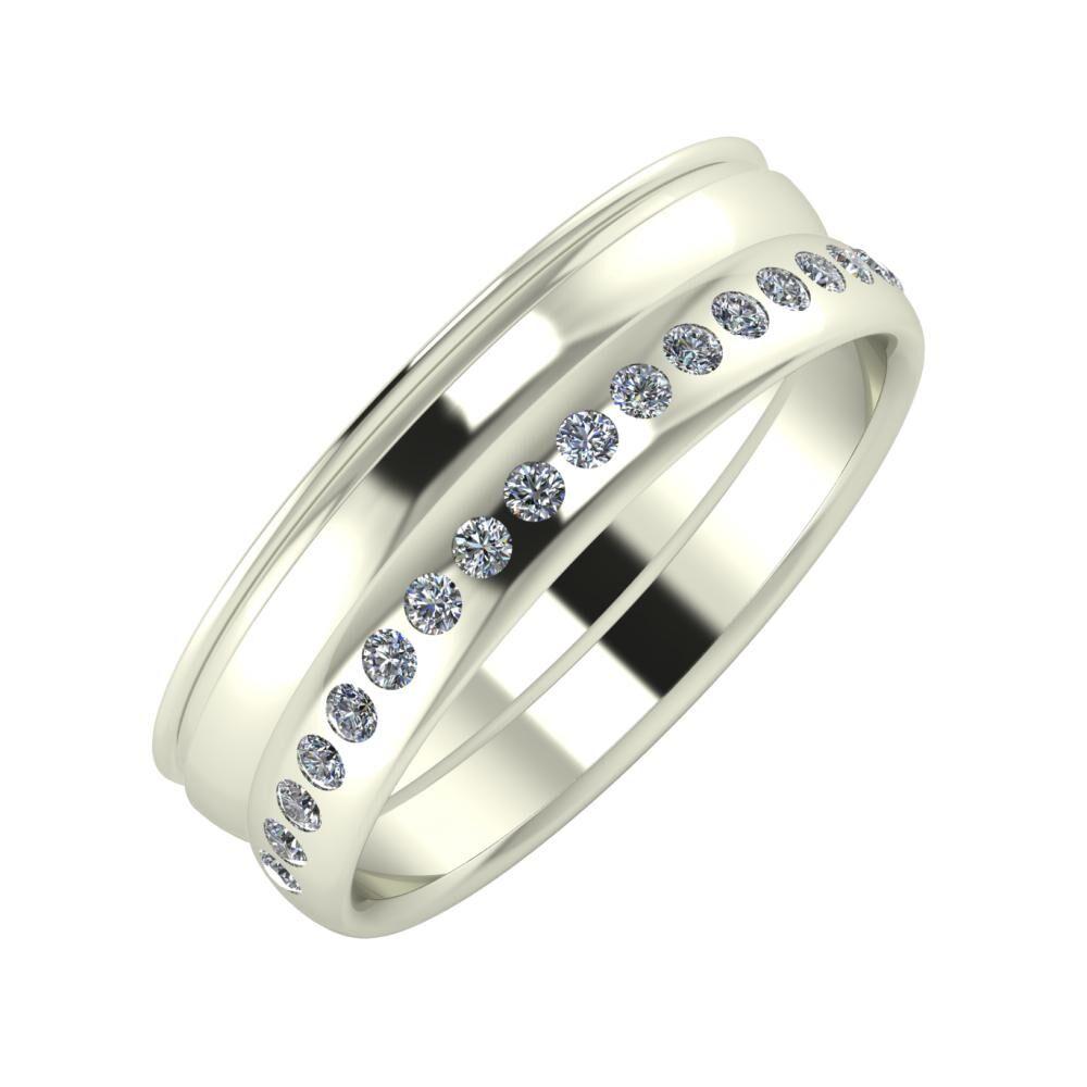 Agrippína - Ágosta - Aldea 6mm 18 karátos fehér arany karikagyűrű
