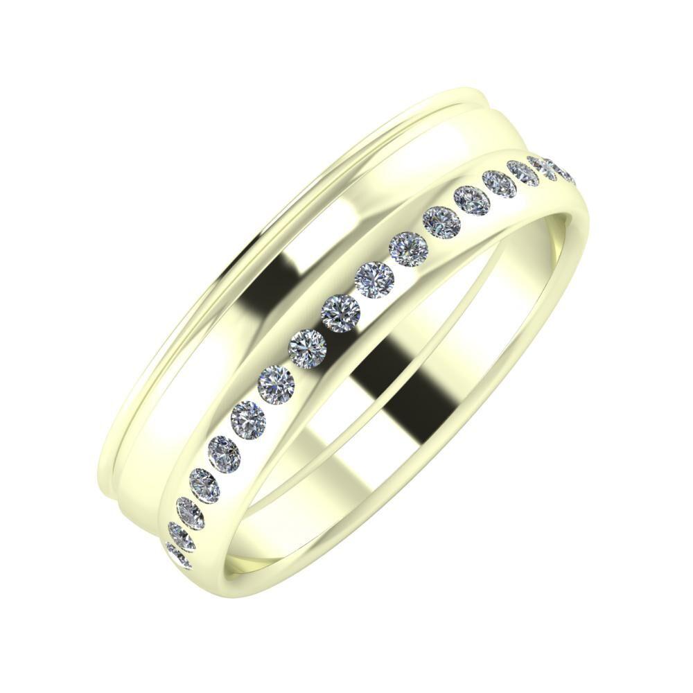 Agrippína - Ágosta - Aldea 6mm 22 karátos fehér arany karikagyűrű