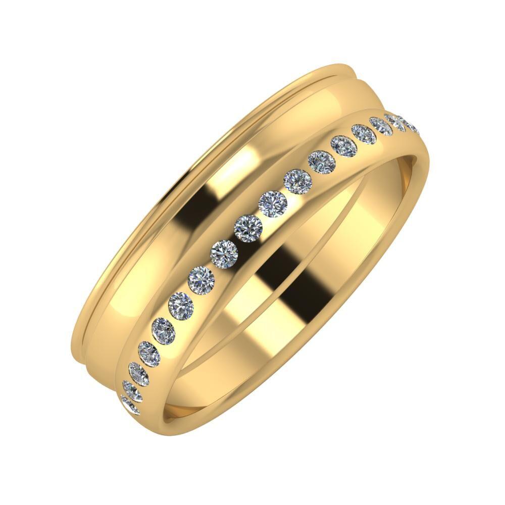 Agrippína - Ágosta - Aldea 6mm 22 karátos sárga arany karikagyűrű