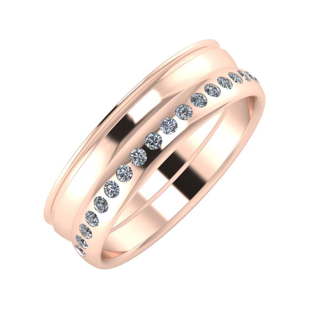 Agrippína - Ágosta - Aldea 6mm 14 karátos rosé arany karikagyűrű