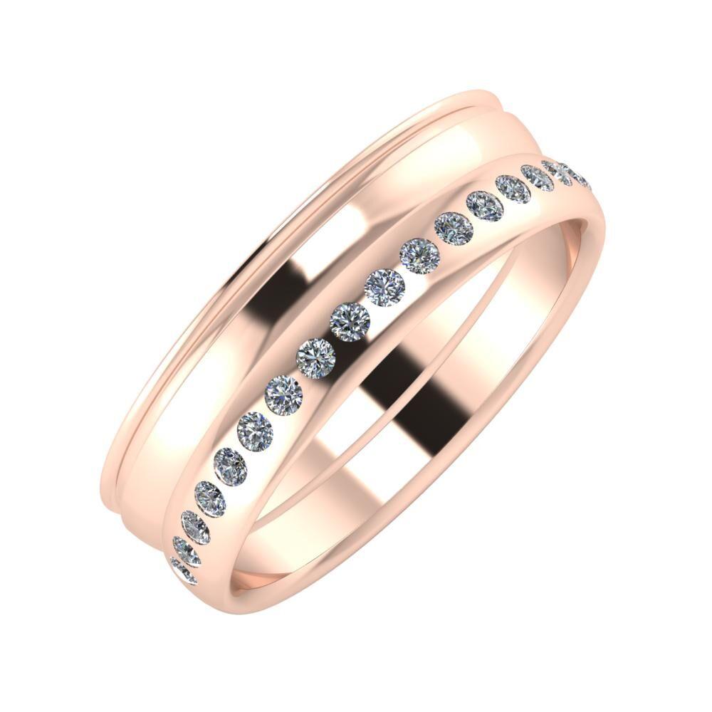 Agrippína - Ágosta - Aldea 6mm 18 karátos rosé arany karikagyűrű