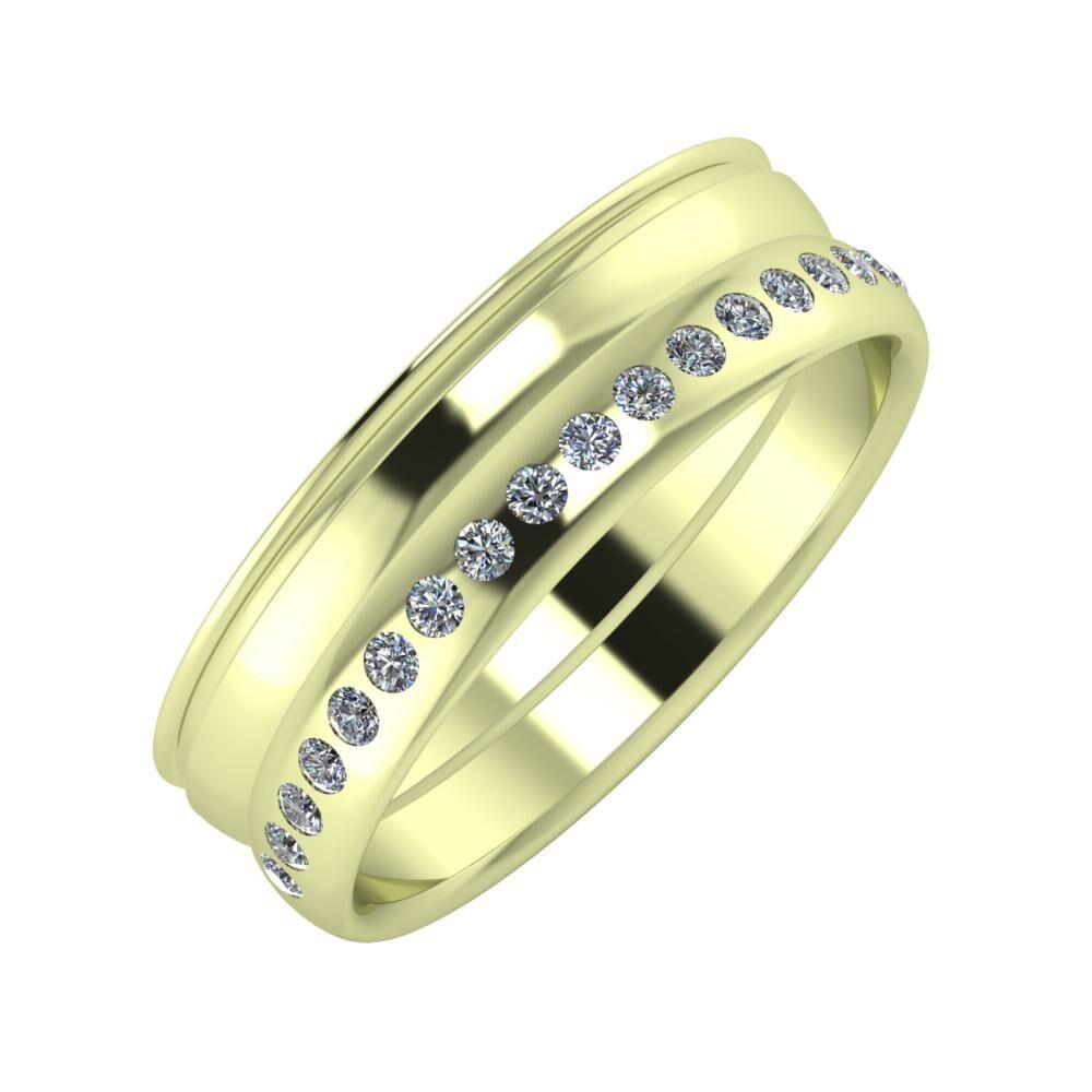 Agrippína - Ágosta - Aldea 6mm 14 karátos zöld arany karikagyűrű