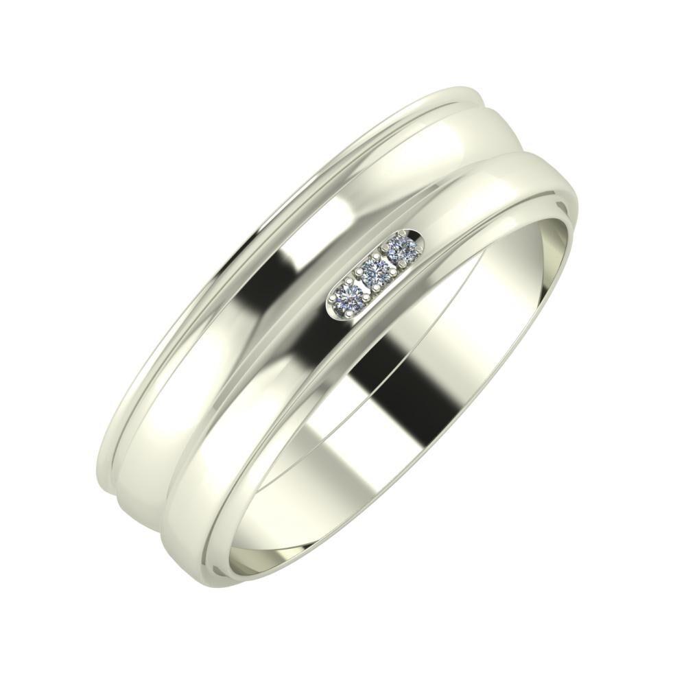 Agrippína - Ágosta - Aleszja 6mm 18 karátos fehér arany karikagyűrű