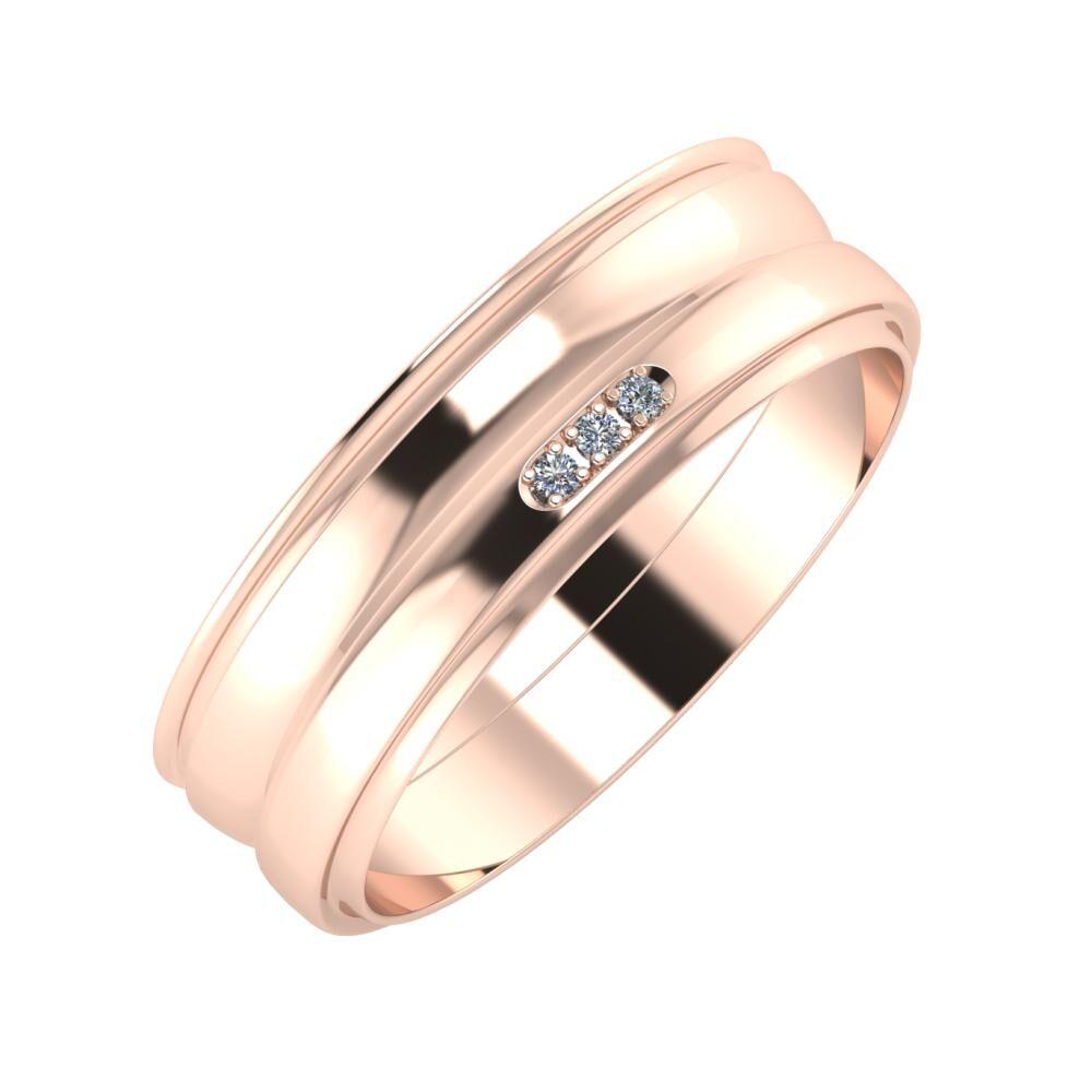 Agrippína - Ágosta - Aleszja 6mm 14 karátos rosé arany karikagyűrű