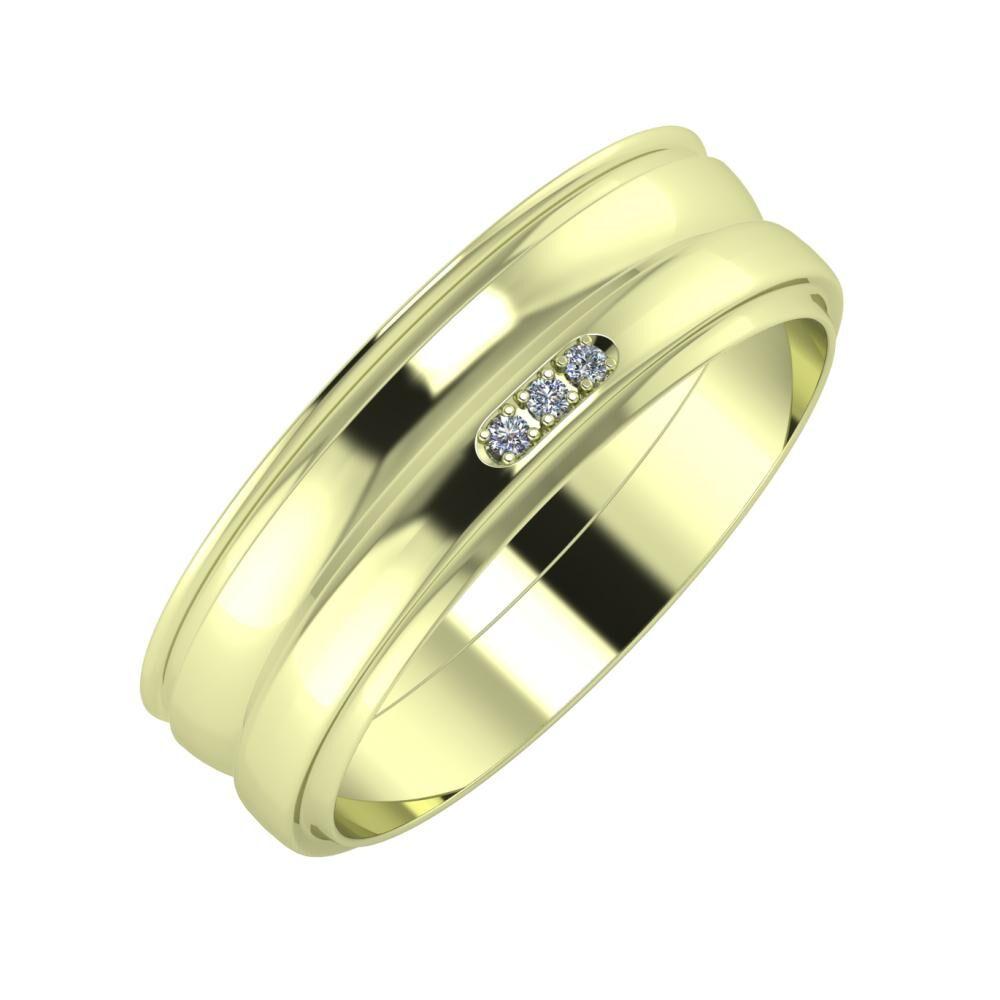 Agrippína - Ágosta - Aleszja 6mm 14 karátos zöld arany karikagyűrű