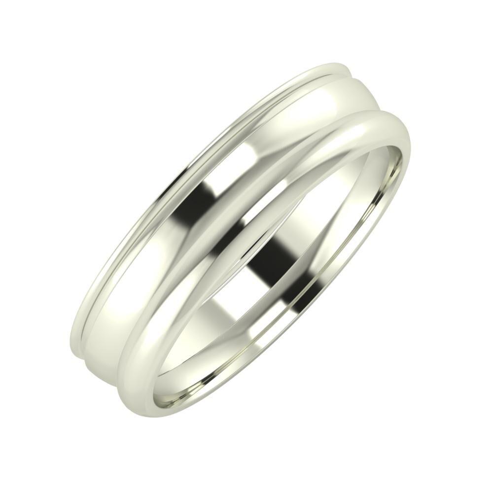 Agrippína - Ágosta - Alett 5mm 14 karátos fehér arany karikagyűrű