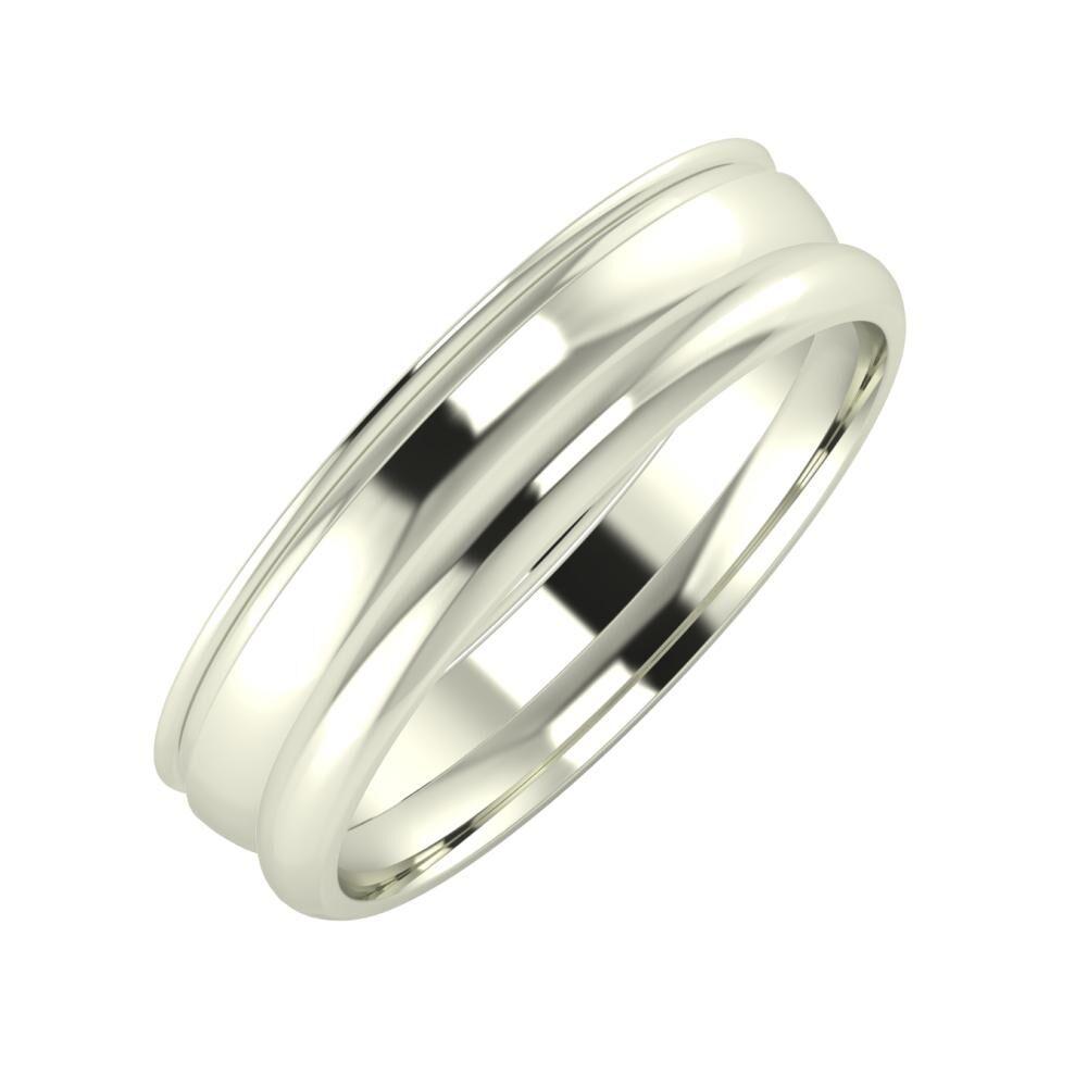 Agrippína - Ágosta - Alett 5mm 18 karátos fehér arany karikagyűrű