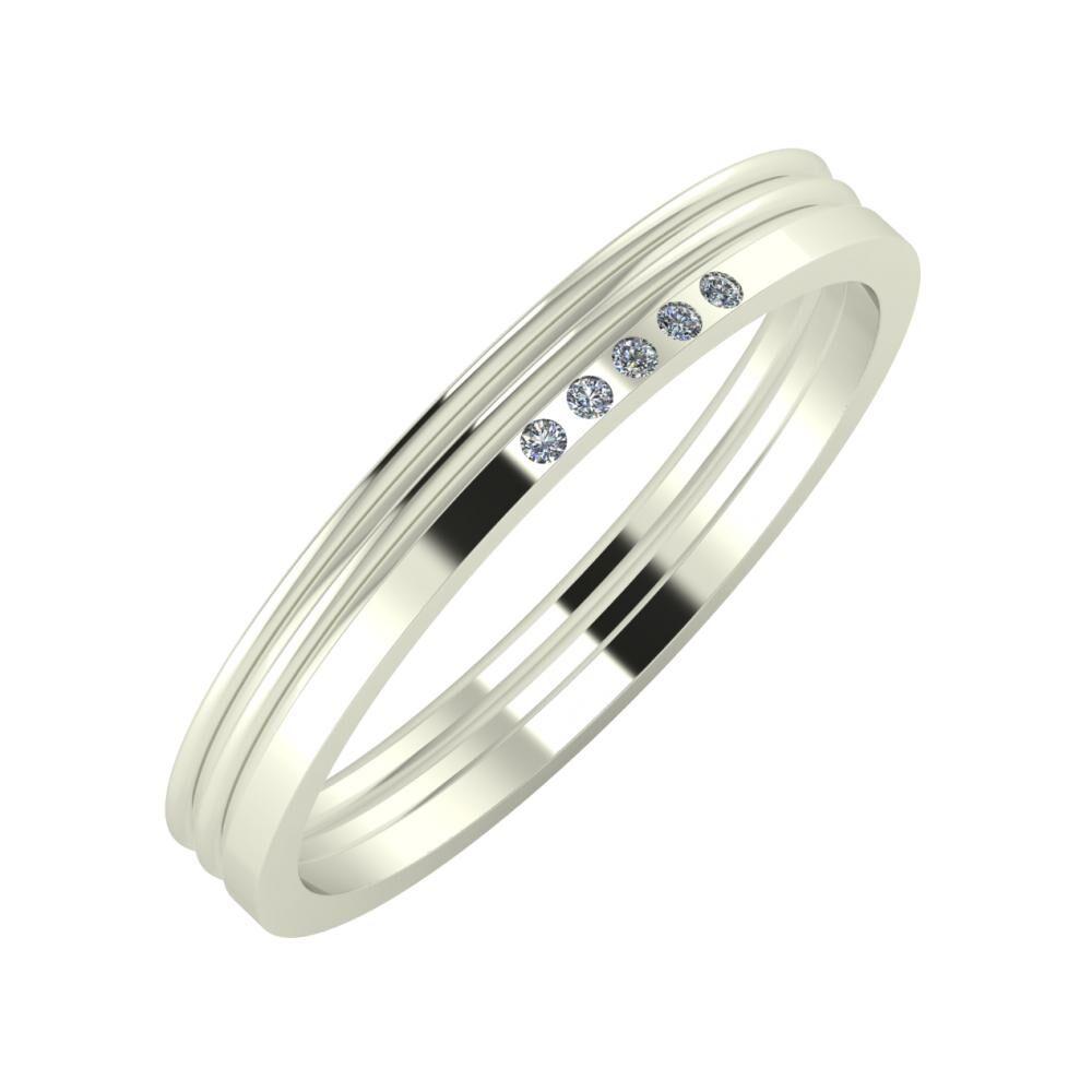 Agrippína - Agrippína - Adelgunda 3mm 14 karátos fehér arany karikagyűrű