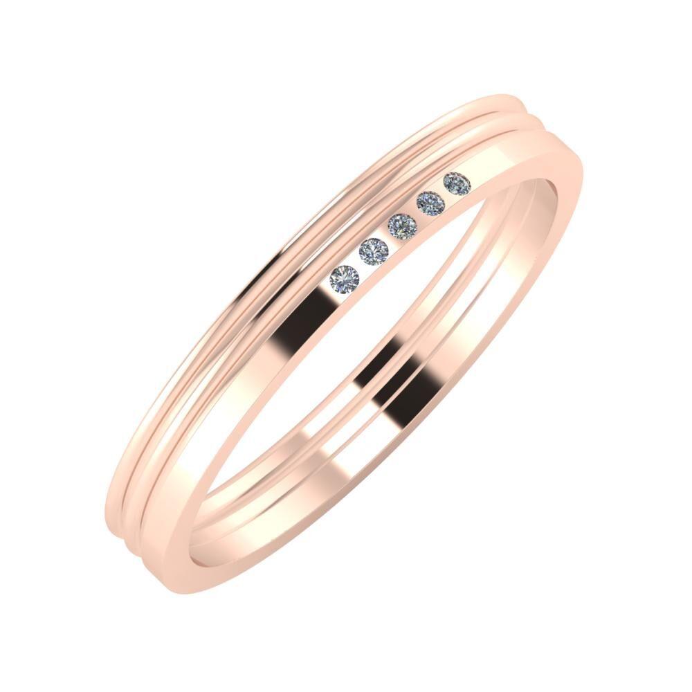 Agrippína - Agrippína - Adelgunda 3mm 14 karátos rosé arany karikagyűrű