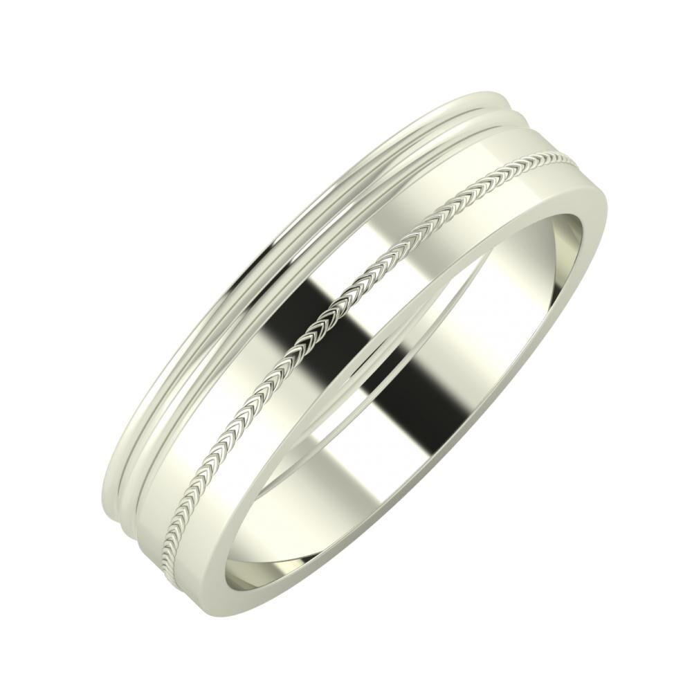 Agrippína - Agrippína - Agáta 5mm 18 karátos fehér arany karikagyűrű