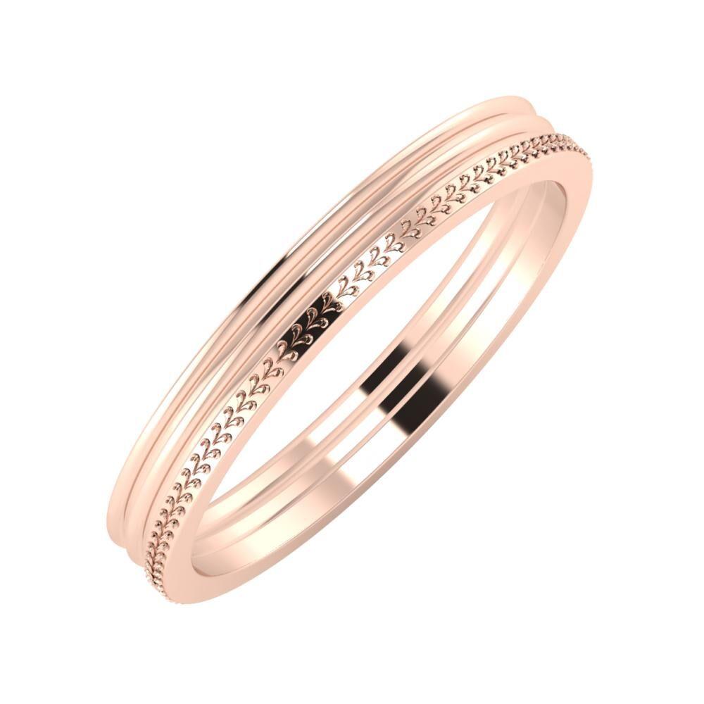 Agrippína - Agrippína - Aglája 3mm 14 karátos rosé arany karikagyűrű