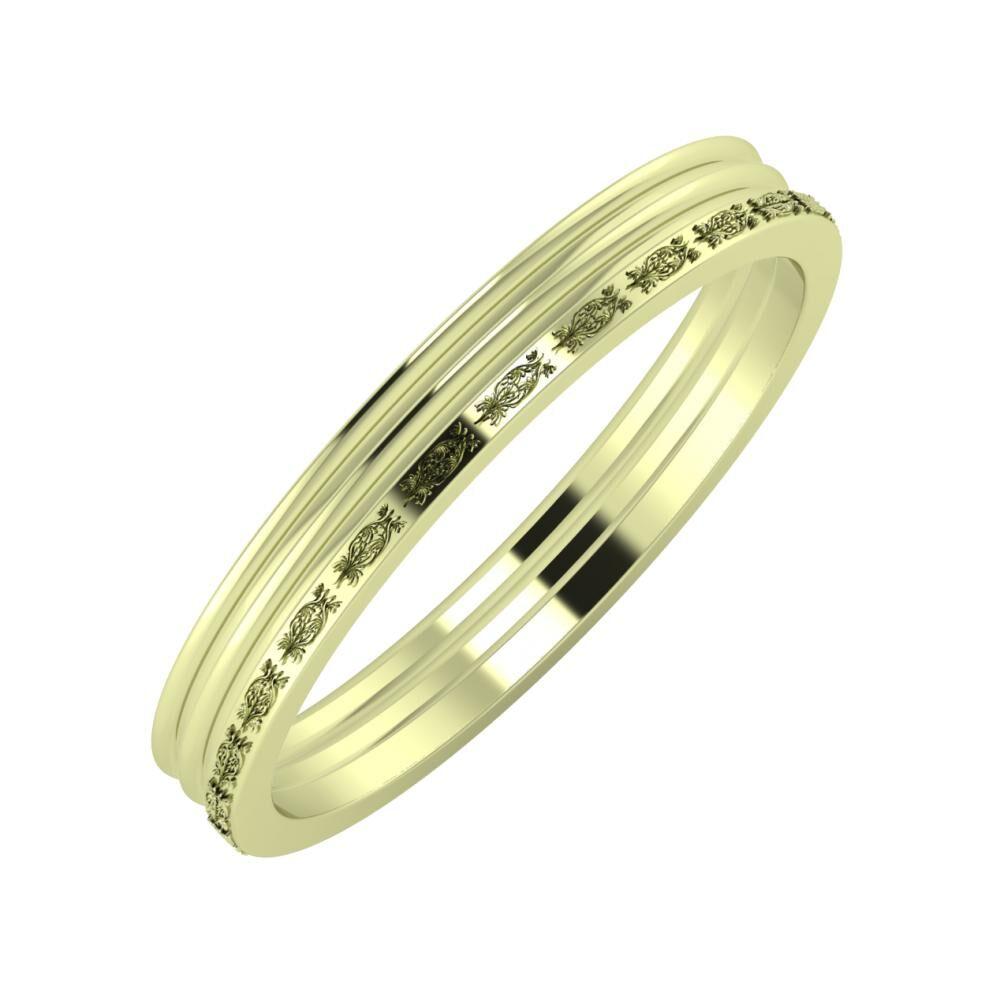Agrippína - Agrippína - Agnella 3mm 14 karátos zöld arany karikagyűrű