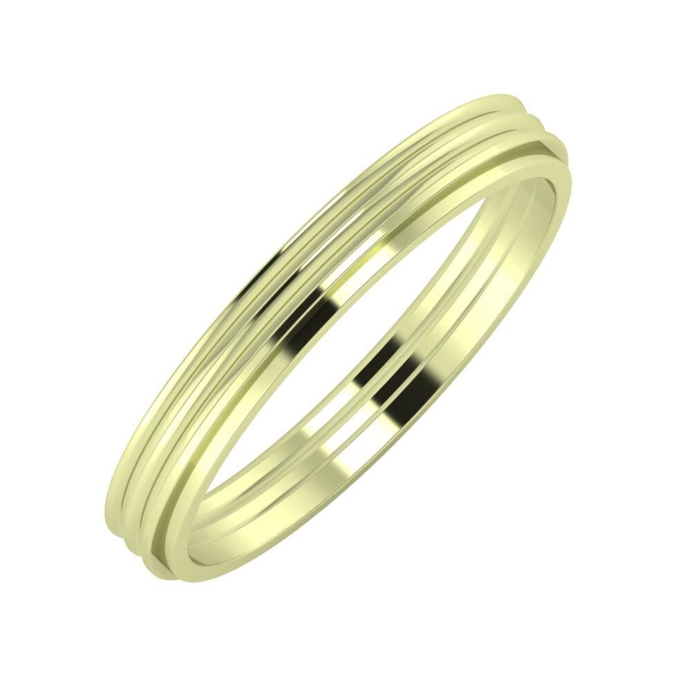 Agrippína - Agrippína - Ájlin 3mm 14 karátos zöld arany karikagyűrű