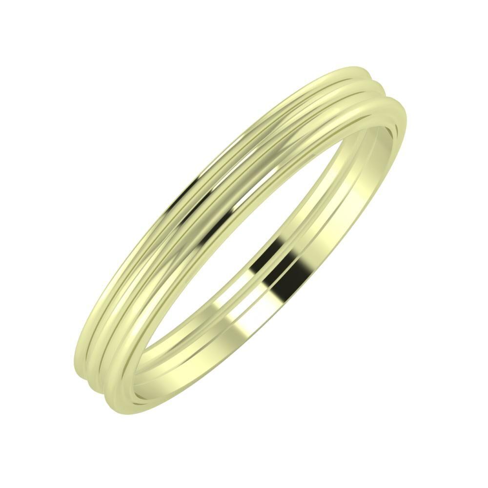 Agrippína - Agrippína - Ajra 3mm 14 karátos zöld arany karikagyűrű