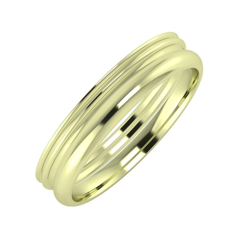 Agrippína - Agrippína - Alett 4mm 14 karátos zöld arany karikagyűrű