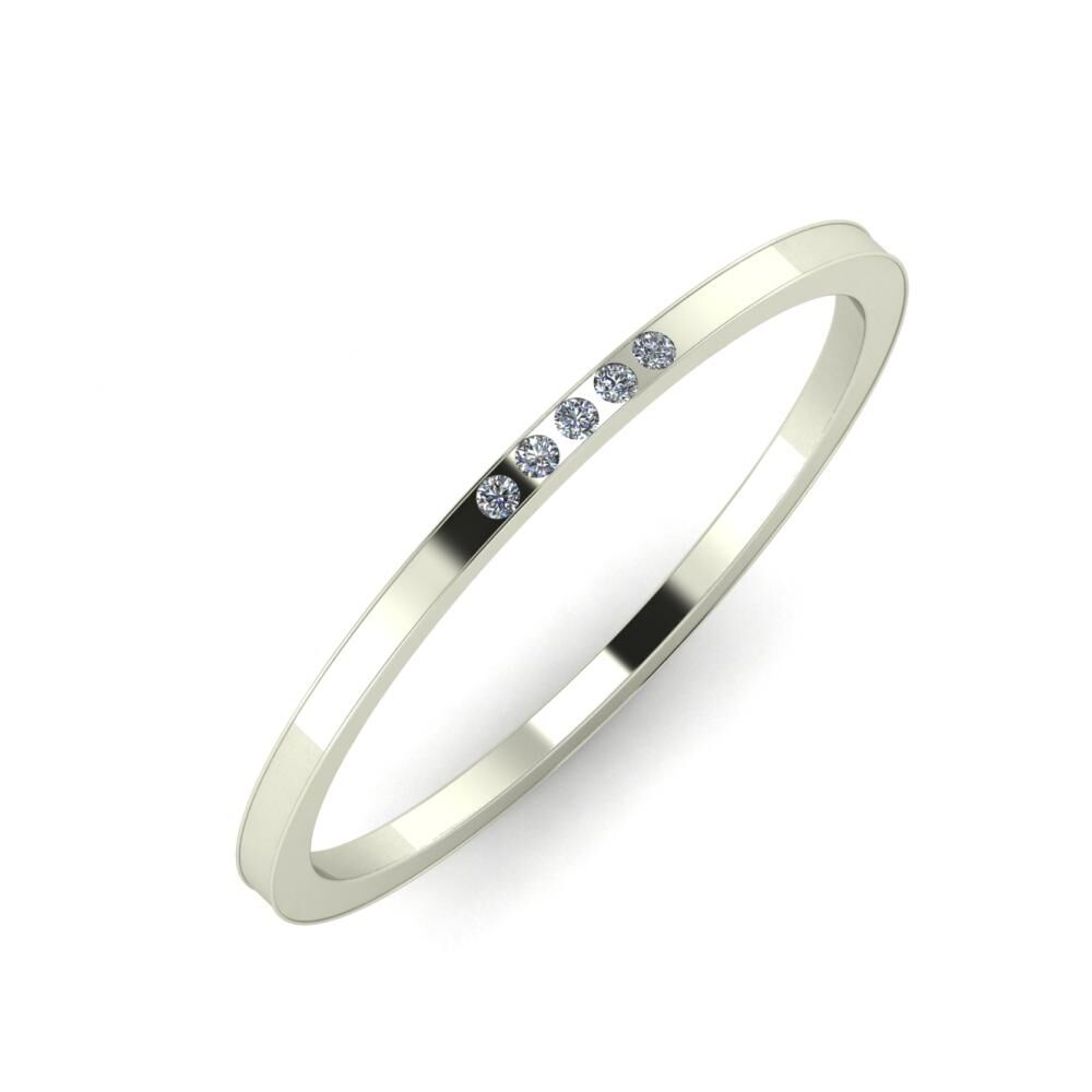 Agrippína - Aida - Adelaida 4mm 14 karátos fehér arany karikagyűrű