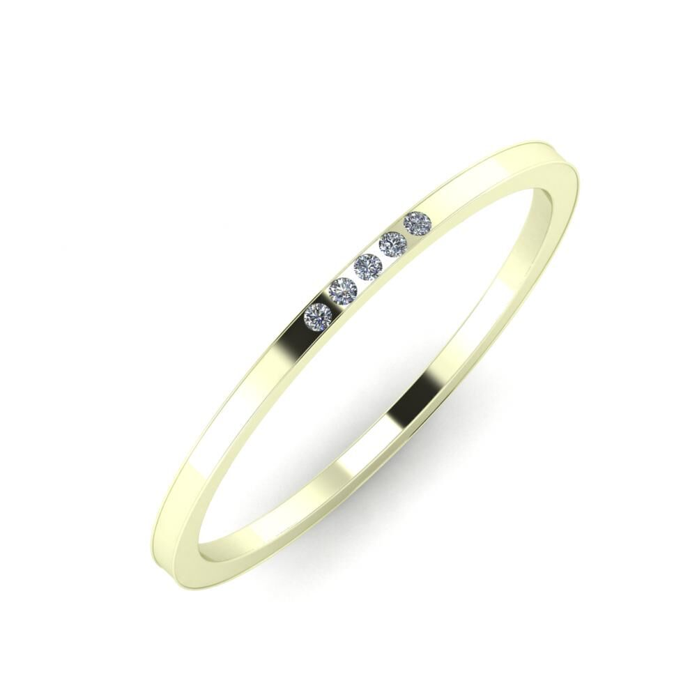 Agrippína - Aida - Adelaida 4mm 22 karátos fehér arany karikagyűrű