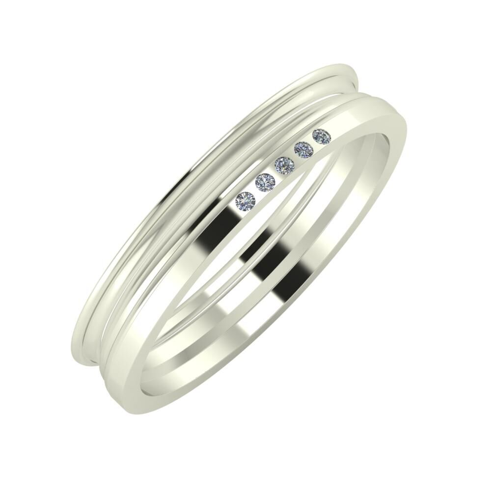 Agrippína - Aida - Adelgunda 4mm 14 karátos fehér arany karikagyűrű