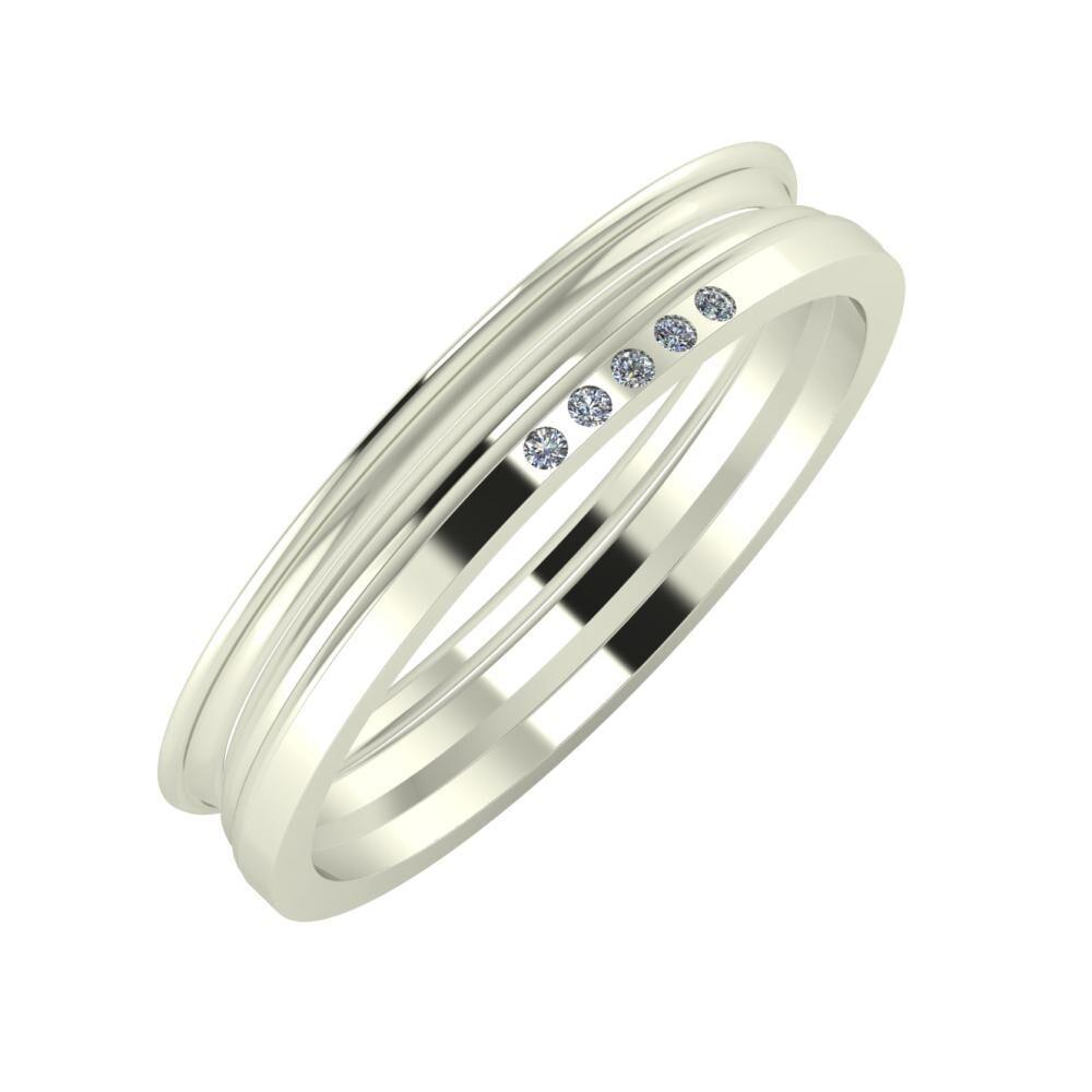 Agrippína - Aida - Adelgunda 4mm 18 karátos fehér arany karikagyűrű