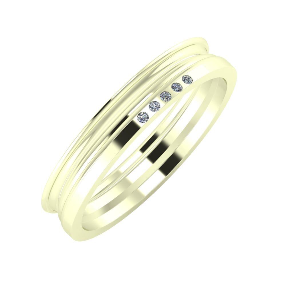 Agrippína - Aida - Adelgunda 4mm 22 karátos fehér arany karikagyűrű