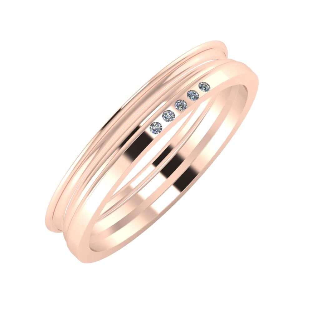 Agrippína - Aida - Adelgunda 4mm 14 karátos rosé arany karikagyűrű